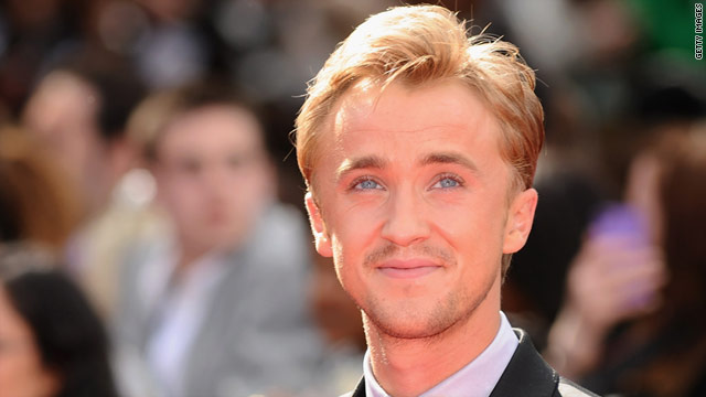 "Actor Tom Felton, who plays Draco Malfoy in the Harry Potter films, attends the ""Deathly Hallows Part II"" premier in London."