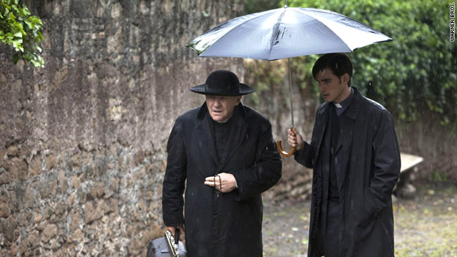 "Anthony Hopkins, left, stars as Father Lucas and Colin O'Donoghue stars as Michael Kovak in ""The Rite."""