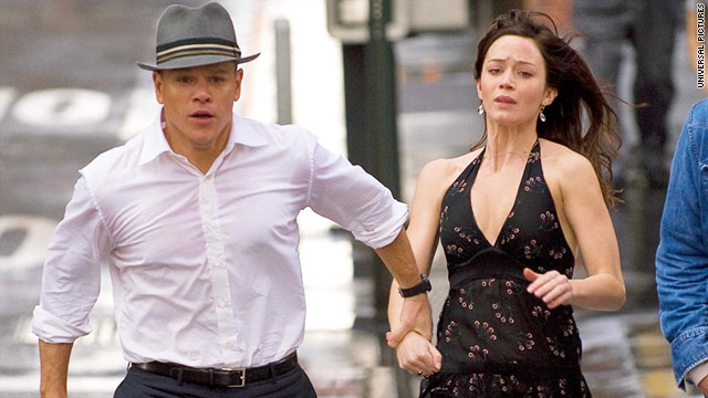 "Matt Damon and Emily Blunt make a run for it in ""The Adjustment Bureau."""