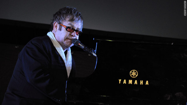 "Elton John performed at the Tribeca Film Festival  for the premire of ""The Union"" on April 20."