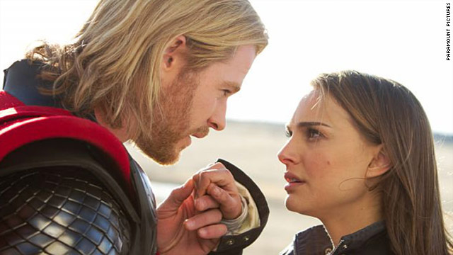 "Chris Hemsworth and Natalie Portman find each other in the new movie ""Thor."""