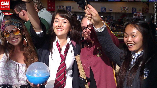 Fans in San Diego dress up to watch the last of the Harry Potter movies.