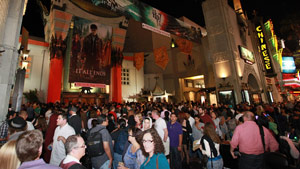 Fans line up outside Grauman's Chinese Theatre in Los Angeles on Thursday.