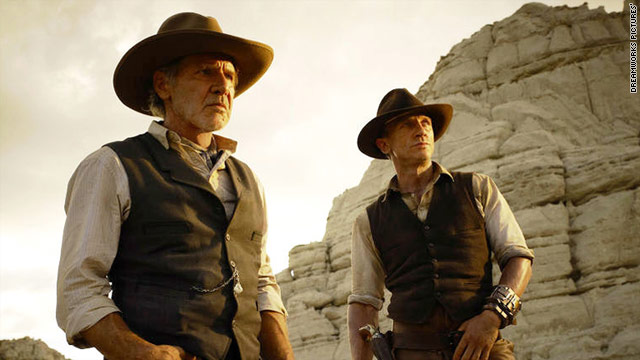 "Harrison Ford, left, plays second fiddle to Daniel Craig in ""Cowboys & Aliens."""