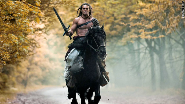 "Jason Momoa stars as Conan in the new film ""Conan the Barbarian."""
