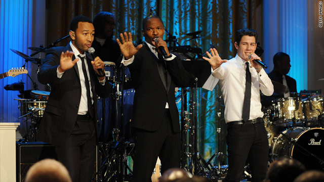 From left, John Legend, Jamie Foxx and Nick Jonas pay tribute to Motown at the White House.
