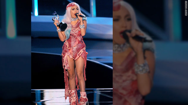 "Lady Gaga wore the meat dress when she accepted the award for Best Video of the Year for ""Bad Romance"" at the MTV Video Music Awards on September 12, 2010."