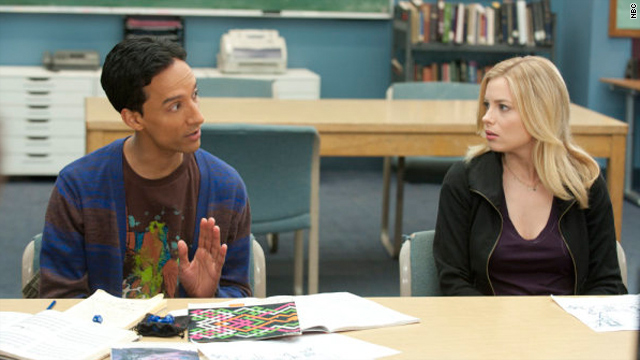 """Danny Pudi, shown with fellow """"Community"""" star Gillian Jacobs, says he enjoys researching the interests of his character, Abed."""