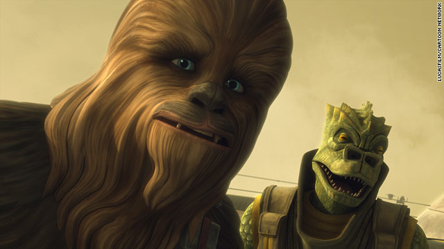 "A young Chewbacca is seen here with a rather unfriendly Transdoshan, in a still from tonight's ""Clone Wars"" finale."