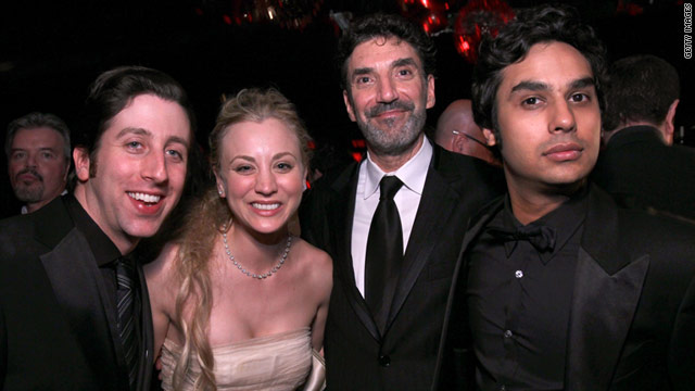 "Chuck Lorre (with beard, photographed with the cast of ""The Big Bang Theory"") slams an actor in his latest vanity card."