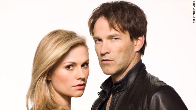 "Real-life couple Anna Paquin and Stephen Moyer play on-screen loves in the HBO series ""True Blood."""