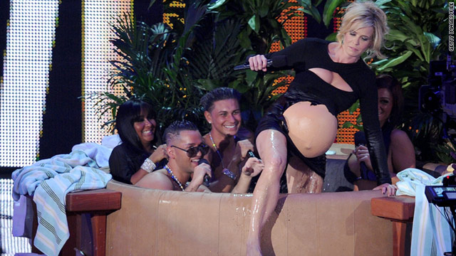 "Last year's MTV Video Music Awards were hosted by Chelsea Handler, seen here in a skit with the ""Jersey Shore"" cast."