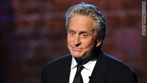 Michael Douglas lost 32 pounds while being treated for throat cancer.