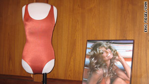 This is the famous swimsuit and poster from the '70s that adorned the walls of teenaged boys across America.