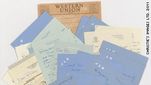 The 22 letters and a printed telegram are being auctioned by Christie's.