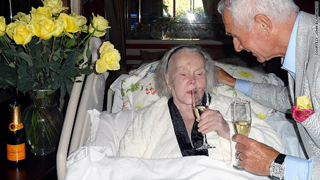Zsa Zsa Gabor, 94, drinks champagne with husband Prince Frederic von Anhalt for his 68th birthday.