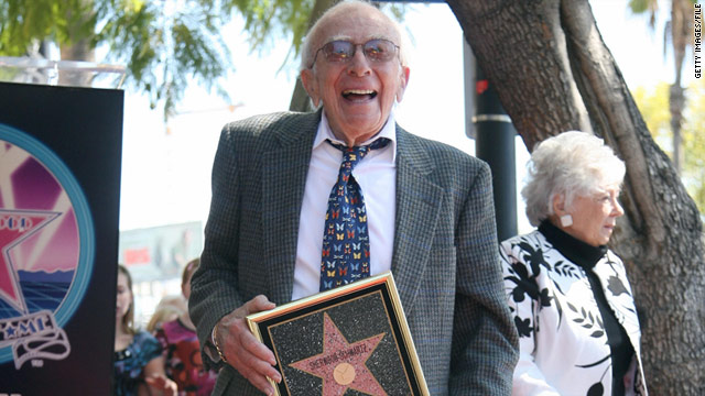 Sherwood Schwartz poses after been honored with a star on the Hollywood Walk of Fame in 2008.