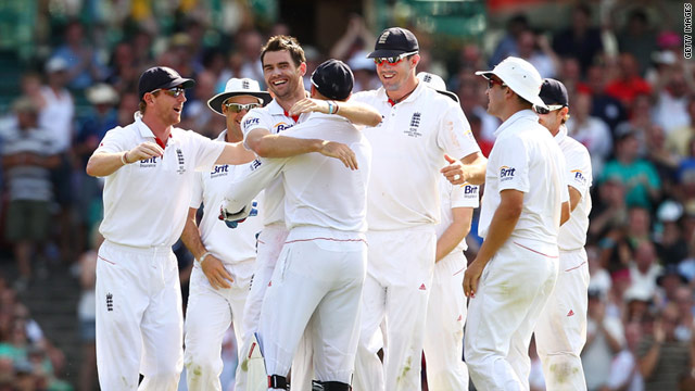 England celebrate as James Anderson claims the key wicket of Australian captain Michael Clarke.