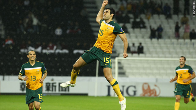 Mile Jedinak jumps for joy after following up his equalizer against South Korea with Australia's winner over Bahrain.