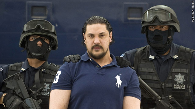 "Jose Jorge Balderas, alias ""El JJ,"" is presented at a press conference at Federal Police headquarters in Mexico City."