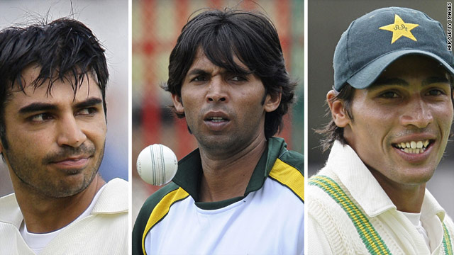 From left: Salman Butt, Mohammad Asif and Mohammad Amir were found guilty of spot-fixing charges on Saturday.