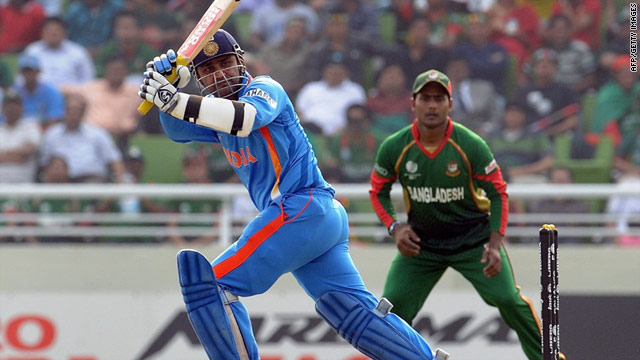 Virender Sehwag matched the fourth-highest score in World Cup history as he equaled compatriot Kapil Dev's 175.