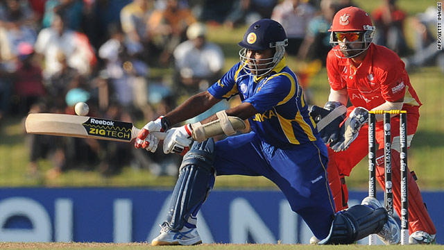 Mahela Jayawardene switches attack during his quickfire hundred for Sri Lanka against Canada at the Cricket World Cup.