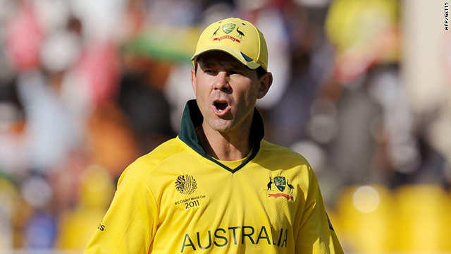 Ponting reacted angrily after being run out in his side's World Cup opener against Zimbabwe.