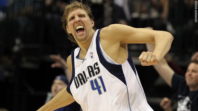 "Dirk Nowitzki, aka the ""Dunking Deutschman,"" celebrates after scoring for the Dallas Mavericks during the 2010 NBA playoffs."