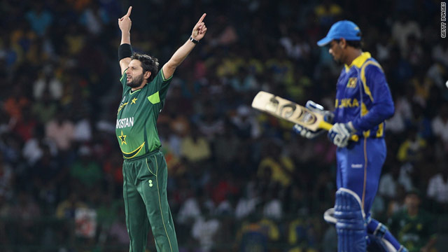 Shahid Afridi celebrates the dismissal of Tillakaratne Dilshan -- one of the Pakistan captain's four victims in Colombo.