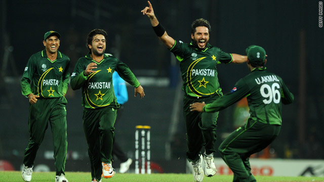 Shahid Afridi celebrates another wicket against Canada. He took five in the match as Pakistan won by 46 runs.