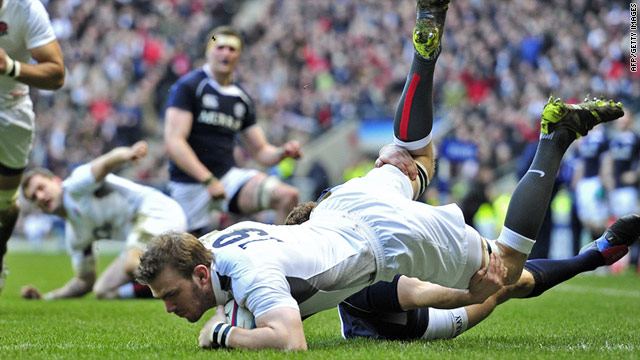 Substitute Tom Croft scores England's only try in their narrow Twickenham victory over rivals Scotland.