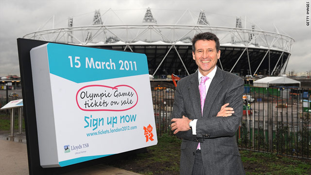 London 2012 chairman Lord Sebastian Coe in front of the Olympic Stadium in London.