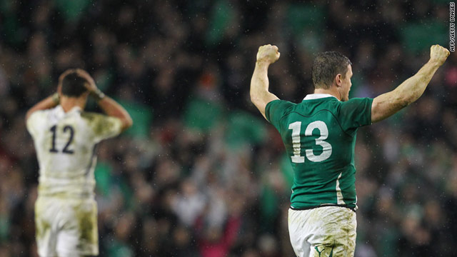 Ireland's record-breaking captain Brian O'Driscoll celebrates after denying England a Six Nations Grand Slam.
