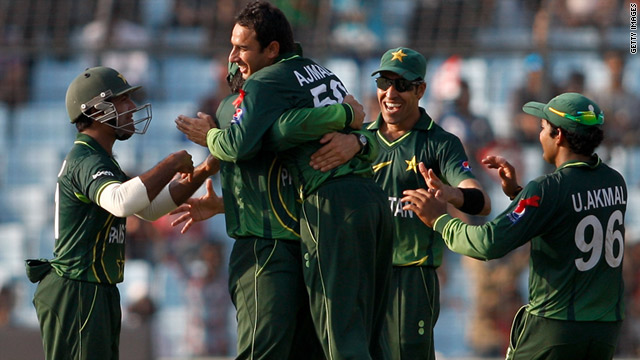 Pakistan players celebrate another wicket in their crushing Cricket World Cup victory over West Indies.