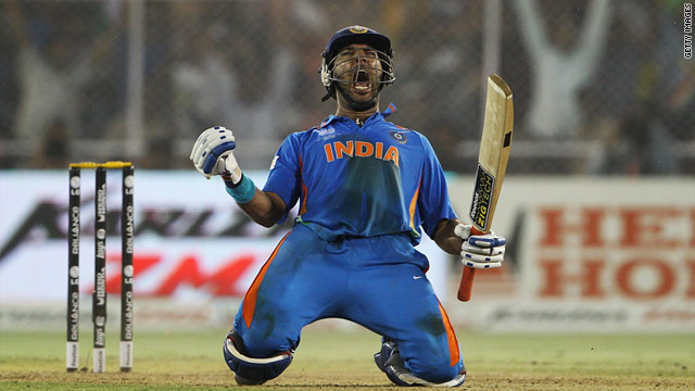 Yuvraj Singh roars with delight after hitting the winning runs for India against Australia.