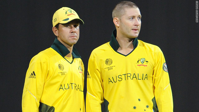 Michael Clarke, right, will take over the reins as leader of Australia's cricket team from Ricky Ponting, left.