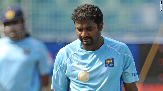 Muttiah Muralitharan practices ahead of Saturday's World Cup final between Sri Lanka and India.