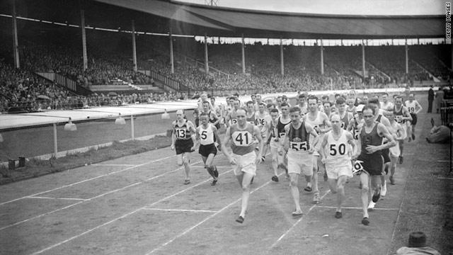 Competitors start a marathon at the White City Stadium, London in 1939.