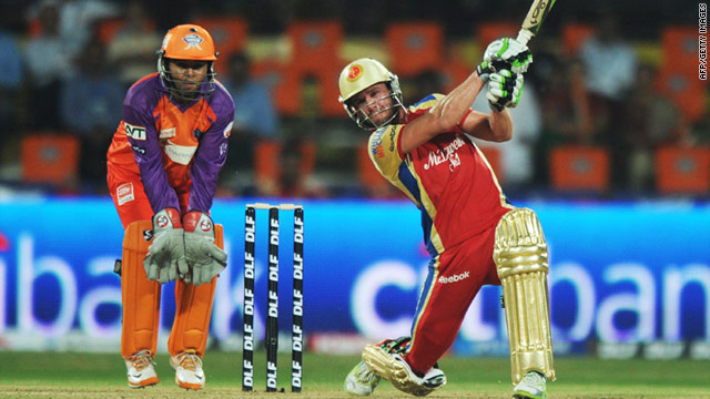 AB de Villiers smashes his way to an unbeaten 54 which sealed victory for the Bangalore Royal Challengers in Kochi.
