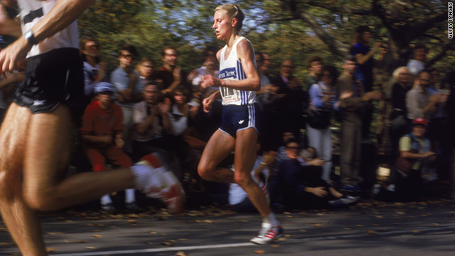 Grete Waitz competing in the 1984 New York City marathon.