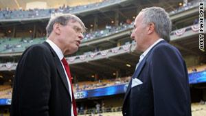MLB Commissioner Bud Selig, left, talks with Dodgers owner Frank McCourt at Dodger Stadium in 2006.
