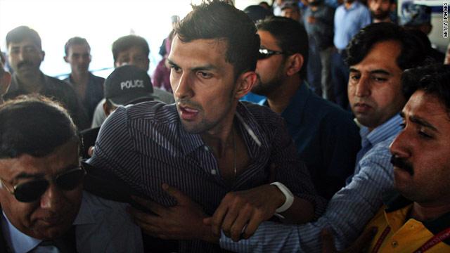 Cricketer Zulqarnain Haider pictured at Benazir International Airport in Islamabad.