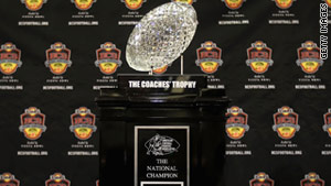 The Bowl Championship Series determines which college football teams play for the national title and trophy.