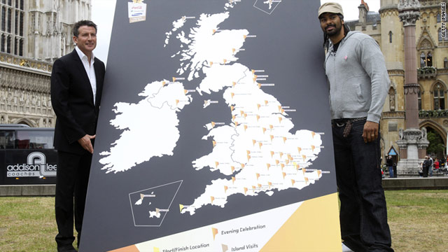 Britain's world boxing champion David Haye, right, helped 2012 chairman Sebastian Coe launch the Olympic torch relay route.