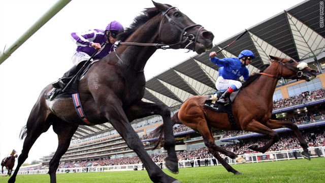 Rewilding (Blue) gets up on the line to beat hot favorite So You Think in a major shock on day two of Royal Ascot.