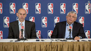 NBA Deputy Commissioner Adam Silver, left, and Commissioner David Stern talk about the lockout Thursday.