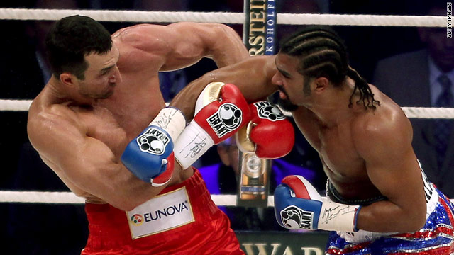 Wladimir Klitschko (left) tangles with David Haye in their world heavyweight unification fight Saturday in Hamburg, Germany.