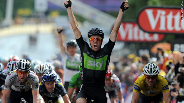 Edvald Boasson Hagen celebrates Team Sky's first ever Tour de France stage victory.