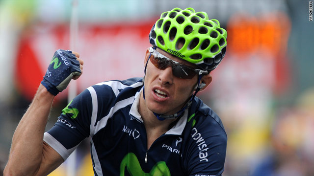 Alberto Rui Costa celebrates his first Tour de France stage victory.